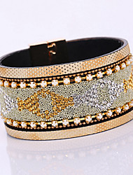 Fashion Elegant Resin Rhinestone Geometry Magnet Alloy Buckle Bracelet