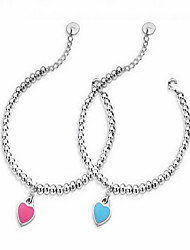 Silver Beads Strand Bracelet with Heart Pendant
