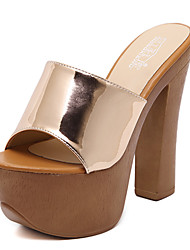 Women's Shoes Patent Leather Chunky Heel Open Toe Sandals Dress Black / Gold