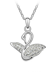 HKTC Elegant Gift Jewelry 18K White Gold Plated Lovely Alloy Crystal CZ Diamond Swan Pendant NecklaceImitation Diamond Birthstone