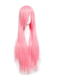 precio barato de la alta temperatura de color rosa cosplay sintética peluca de 80 cm de largo pelucas rectas jóvenes