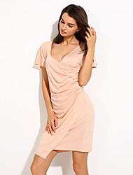 Women's V-neck Fitted Dress