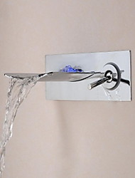 Contemporary Waterfall Chrome Finish   Wall-mounted Bathroom Tub Faucet