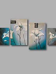 "Stretched (Ready to hang) Hand-Painted Oil Painting 64""x40"" Canvas Wall Art Modern Abstract Flowers Blue"
