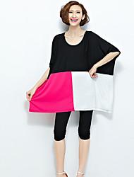 Damen Solide Einfach Lässig/Alltäglich T-shirt,Rundhalsausschnitt Sommer ½ Länge Ärmel Rot / Grau / Grün Polyester Undurchsichtig