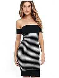 Women's Sexy Boat Neck Striped Stitching Black Bodycon Dress