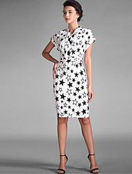 Baoyan® Women's Stand Short Sleeve Above Knee Dress-1503121
