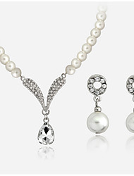 Elegant White Pearl Drop Pendant Necklace & Earrings Jewelry Set