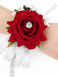 Wedding Flowers Free-form Satin Roses Wrist Corsages Wedding 1 Peice Fuchsia / Red / Green / Beige