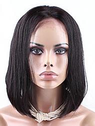 Cara 7a recto sedoso bob corto cabello humano pelucas de cabello humano pelucas llenas del cordón para las mujeres negras bob peluca 8