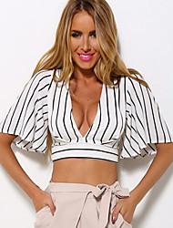 Women's Sexy Street chic Classic Striped Casual T-shirt,Deep V Batwing Short Sleeve