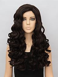 Mujer Pelucas sintéticas Largo Ondulado Marrón Peluca de Halloween Peluca de carnaval negro peluca Las pelucas del traje