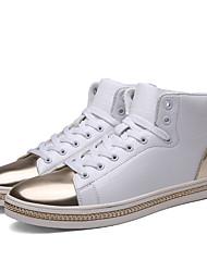 Femme-Extérieure / Décontracté / Sport-Noir / Blanc-Talon Plat-Confort / Bottine / Bout Fermé-Sneakers-Polyuréthane