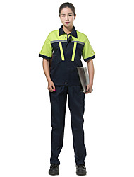 Male Short-Sleeved Overalls Suit Protective Clothing Reflective Overalls Summer(Collect green blue shoulder)