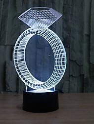 Amazing 3D Illusion Table Lamp Night Light with Diamond Ring Shape with 7 Color Light
