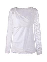 Women's Solid White Blouse , V Neck Long Sleeve