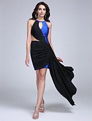2017 Cocktail Party Dress Sheath / Column Jewel Short / Mini Jersey with Side Draping
