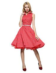Vrouwen Vintage Wijd uitlopend Jurk Polka dot-Overhemdkraag Tot de knie Mouwloos Blauw / Rood / Wit / Zwart Katoen Alle seizoenen