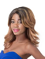 european vogue wig partido médio sythetic mista onda marrom para mulheres