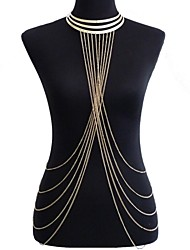 Body Jewelry/Belly Chain Body Chain Harness Necklace Alloy Crossover Sexy Bikini Fashion Gold 1pc