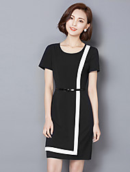 Women's Work / Plus Size Simple Shift Dress,Color Block Round Neck Above Knee Short Sleeve Blue / Black Polyester Summer