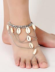 moda tornozeleira borlas shell cadeia