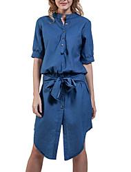 Fashion Women's V Neck Short Sleeve Casual Sexy Irregular Slim fold Denim Dress