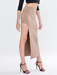 Women's Solid Khaki/Blue/Wine Skirt,Sexy High Slit Elastic Waist Asymmetrical