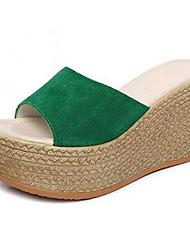 Women's Shoes Beach Suede Wedge Heel Peep Toe / Platform / Round Toe Sandals Dress / Casual Black / Green