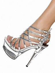 Mujer-Tacón Stiletto-Tacones / Plataforma / Gladiador-Tacones / Sandalias-Boda / Exterior / Casual / Fiesta y Noche-Semicuero-Negro /