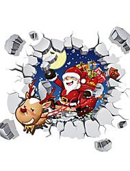 Natale Adesivi murali Adesivi 3D da parete Adesivi decorativi da parete,PVC Materiale Lavabile / Rimovibile / RiposizionabileDecorazioni