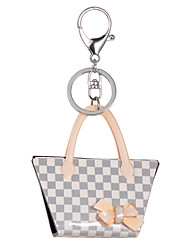 2015 New Fashion Lattice Key Chain Women Acrylic Grey Rhinestone Ladies Keyrings
