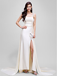 TS Couture Formal Evening Dress - Celebrity Style Sheath / Column Straps Court Train Jersey with Split Front