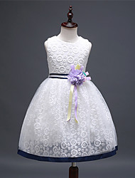 A-line Knee-length Flower Girl Dress - Lace / Satin / Tulle Sleeveless Jewel with Flowers