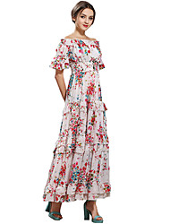 Women's Off The Shoulder|Ruffle Party Boho Sheath / Chiffon Dress,Floral Strapless Maxi Short Sleeve White Silk / Polyester All Seasons