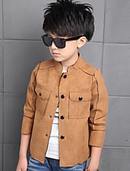 Boy's Solid Suede Long Sleeve Coat
