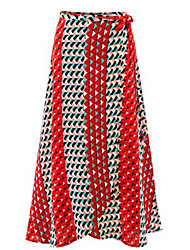 Women's Patchwork Red / Green Skirts,Boho Maxi