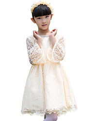 A-line Knee-length Flower Girl Dress - Lace Long Sleeve Jewel with Lace