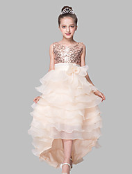 Ball Gown Asymmetrical Flower Girl Dress - Organza Satin Sequined Sleeveless Jewel Neck with Sequin by XMF
