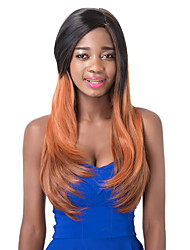 European Vogue Long Sythetic Blck Mix Orange Natural Straight Party Wig For Women