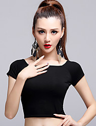 Latin Dance Tops Women's Performance Modal Pleated 1 Piece Black Latin Dance Short Sleeve Natural Top