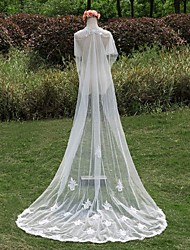 Wedding Veil One-tier Cathedral Veils Lace Applique Edge Pearl Trim Edge Lace White