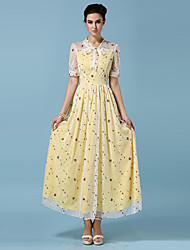 Women's Work Boho Chiffon / Swing Dress,Polka Dot V Neck Maxi Short Sleeve Green / Yellow Cotton / Polyester All Seasons