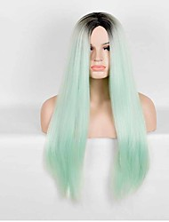 European and American Fashion High Temperature Green Color Straight Synthetic Wig