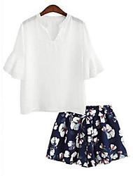 Damen Solide Retro / Street Schick Lässig/Alltäglich T-shirt,V-Ausschnitt Sommer ¾-Arm Weiß / Schwarz Polyester Undurchsichtig
