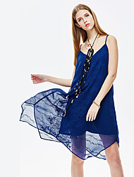 HEARTSOUL Women's Going out Sexy Loose Dress,Print V Neck Asymmetrical Sleeveless Blue Polyester Summer