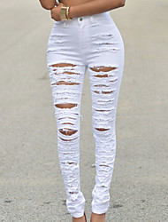 Women's Solid White / Black Jeans Pants,Street chic