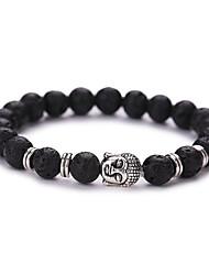 Buddha Head Buddha Beads Energy Volcano Stone Bracelet  #YMGS1003