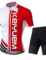 KEIYUEM Camisa com Shorts para Ciclismo Unissexo Manga Curta MotoRespirável Secagem Rápida Á Prova-de-Pó Vestível Compressão Bolso