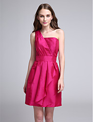 Short / Mini Taffeta Bridesmaid Dress A-line One Shoulder with Ruffles / Side Draping